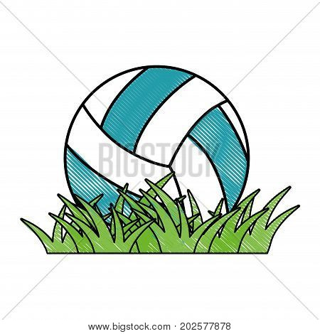 volleyball ball grass icon vector illustration graphic design