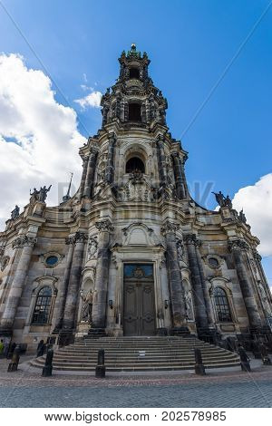 Cathedral of the Holy Trinity (Katholische Hofkirche). Dresden is the capital city of the Free State of Saxony.