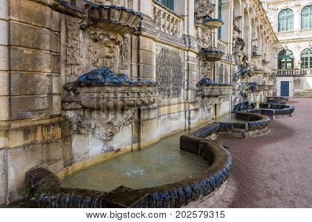 Architectural and decorative elements of the palace Zwinger (Dresdner Zwinger) in Rococo style was built from the 17th to 19th centuries.