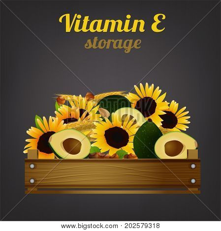 Wooden crate with different food. Vitamin E storage concept. Ripe avocados, nuts and sunflowers in a box. Vector illustration isolated on a dark grey background.