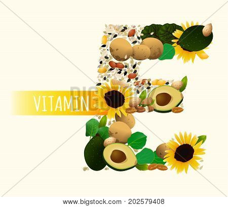 Vitamin E vector illustration. Foods containing vitamin E in a shape of letter E. Source of vitamin E nuts, cgreens, vegetables isolated on the light background