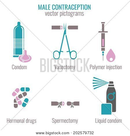 Male contraception methods icons. Vector illustration in medical colour isolated on a white background. Flat pictograms collection.