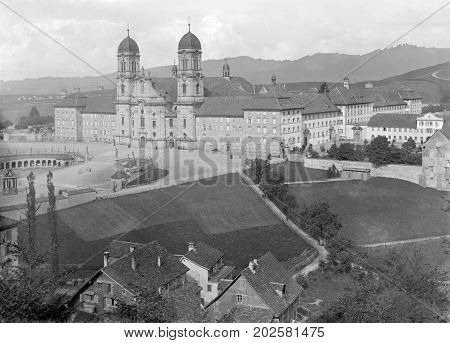 historic aerial picture from a glass negative showing the Einsiedeln Abbey a Benedictine monastery in the town of Einsiedeln in the Canton of Schwyz Switzerland