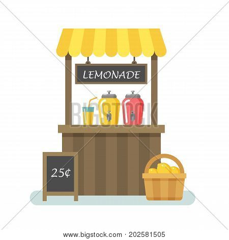 Lemonade stand flat illustration on white background
