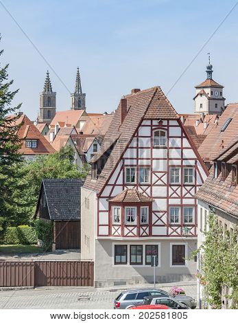 city view of Rothenburg ob der Tauber a town in Middle Franconia in Bavaria Germany