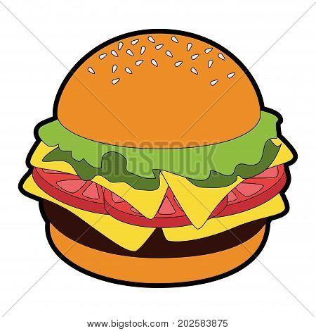 Hamburger fast food icon vector illustration graphic design