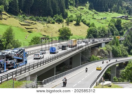 Vehicles Waiting In Line For Entering Gotthard Tunnel