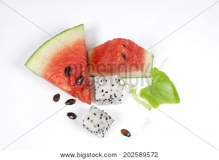 Tasty fresh appetizing watermelon drink smoothie. Watermelon drink in glasses with slices of watermelon