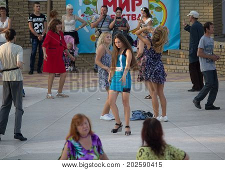 Donetsk Ukraine - August 27 2017 - Dancers on the open dance floor during the celebration of the City Day