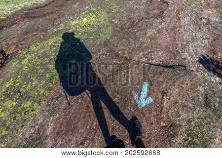Human shadow walking in wrong direction, against a blue arrow painted on the rock ground, stubborn, unruly