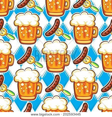 Oktoberfest seamless pattern. Colorful mugs of draft beer with foam hot German sausages on forks bavarian flag on background. Vector design elements for festival party bar offers restaurant menu