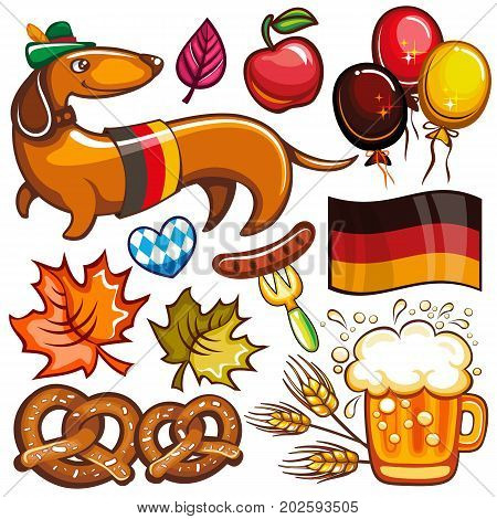Oktoberfest set. Food and drink beer mug Munich brewers hat dachshund dog with German flag pretzels hot dog heart with Bavarian pattern party balloons. Vector icons isolated on white background