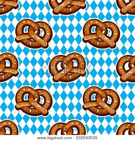 Beer snack seamless background. Vector pattern baked salty fresh pretzels. National holiday German Oktoberfest beer fest. Food texture for textile wrap paper wallpaper background surface cover