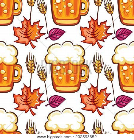 Oktoberfest seamless pattern. Colorful mugs draft beer with foam autumn leaves and wheat grains isolated on white background. Vector design elements for festival party bar offer restaurant menu