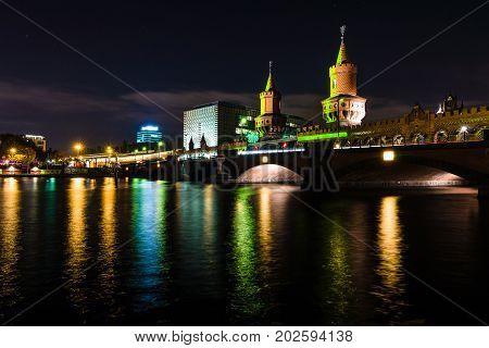 BERLIN GERMANY - OCTOBER 12 2015: Bridge Oberbaumbruecke in the night illumination. The annual