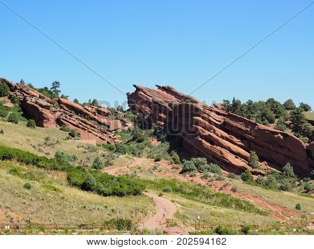 Natural red rock sandstone formations in Morrison Colorado.