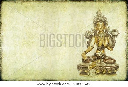 lovely background image with indian religious icon (tara) poster
