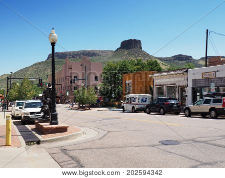 Golden CO - August 12: Street in Golden Colorado with Table Mountain in the background. Golden was founded during the Pike's Peak Gold Rush on June 16 1859 as a gold-rush town.