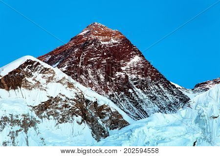 View of top of Mount Everest from Kala Patthar way to mount Everest base camp khumbu valley nepalese himalayas - Nepal