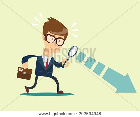 Businessman looking through a magnifying glass. Business and finance concept. Vector, illustration, flat.