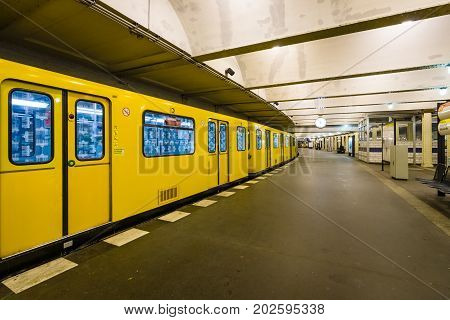 BERLIN GERMANY - OCTOBER 13 2015: Metro station Klosterstrasse. The Berlin U-Bahn is a rapid transit railway in Berlin