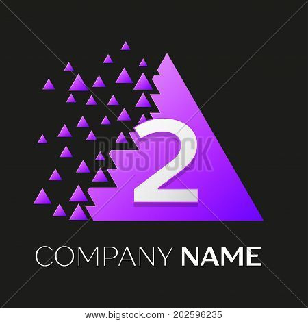 Realistic number two vector logo symbol in the colorful triangle with shattered blocks on black background. Pixel Motion. Vector template for your design