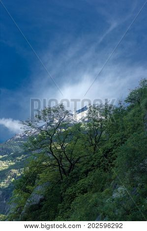 Landscape from the fort of bard in aosta valley