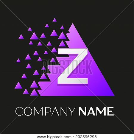 Realistic letter Z vector logo symbol in the colorful triangle with shattered blocks on black background. Vector template for your design