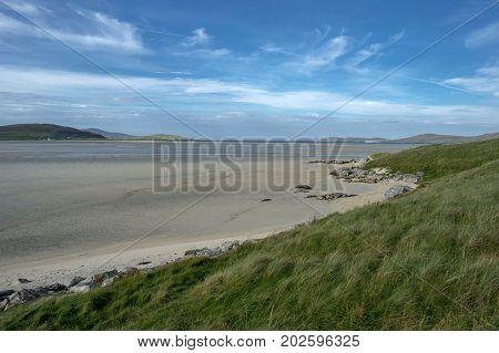 view of luskentyre beach in Scotland during autumn