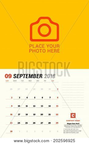 September 2018. Wall Calendar Planner Template. Vector Design Print Template With Place For Photo. W