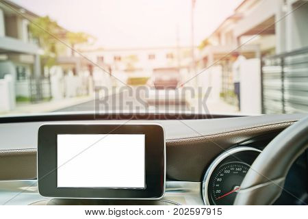 White Screen system display for GPS Navigation and Multimedia as automotive technology in car