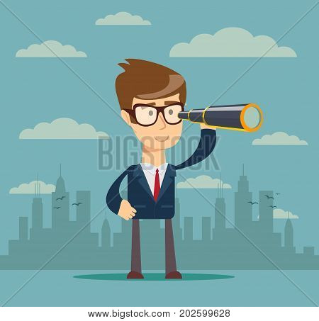 Businessman or manager is looking through a telescop. Vector, illustration