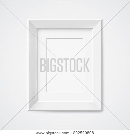 Grey rectangular 3d photo frame with shadow Vector illustration