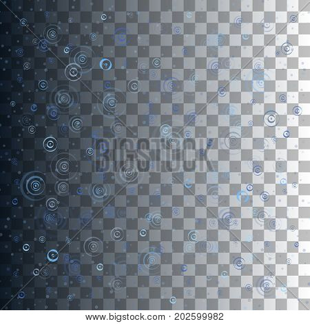 Blue water circles. Raindrops. Vector illustration isolated on transparent background.