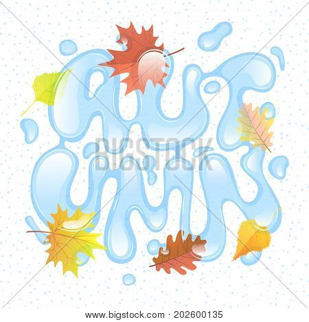 Autumn season. Hand lettering poster. Abstract letters from water and leaves. Water font. October rainy weather