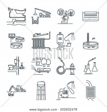 set of thin line icons plumbing and sewerage repair service equipment