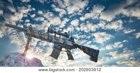 Camouflage pattern hunting rifle & rifle model