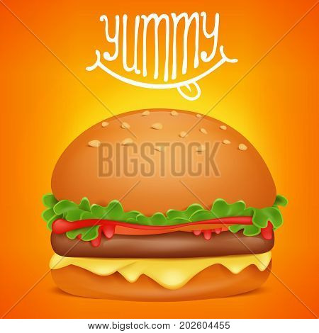 Burger cartoon square icon with yummy title. Vector illustration