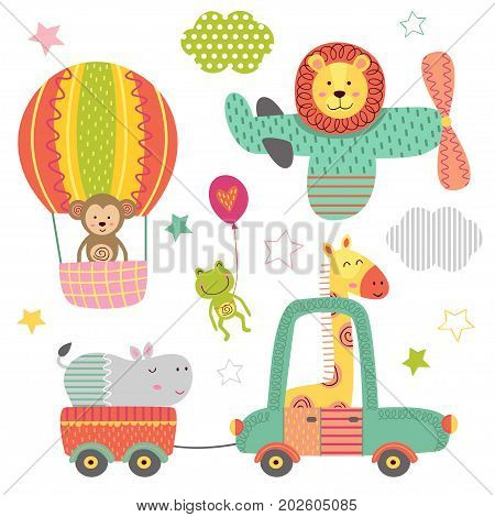 set of isolated transport with baby jungle animals - vector illustration, eps