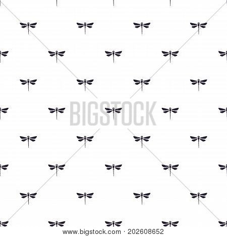 Seamless vector illustration. Pattern with silhouettes dragonfly pattern upward on white background