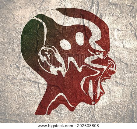 Demonic ugly face. Devil scream character. Demon or monster screaming with in an open mouth as a side view horror face. Grunge distress texture.