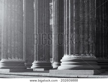 Architecture background of Kazan Cathedral colonnade in St Petersburg Russia. Black and white processing. Architecture background of St Petersburg Russia landmark