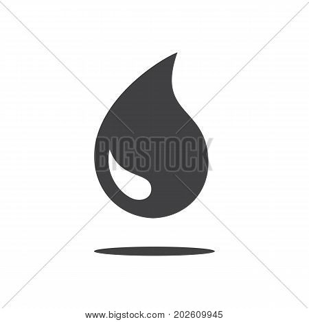 Black drop icon or rain icon isolated on white background