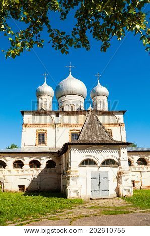 Veliky Novgorod Russia. Architecture landscape of old cathedral of Our Lady of the Sign, Veliky Novgorod, Russia