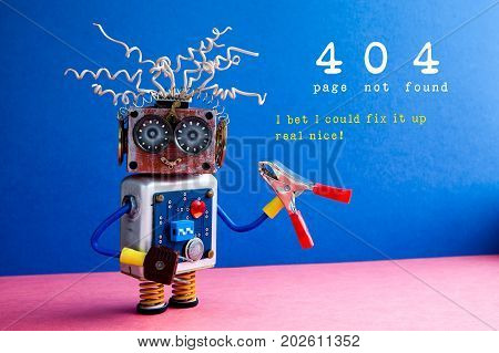 Error 404 page not found. Crazy robot serviceman with red pliers, I bet I could fix it up real nice text on blue pink background.