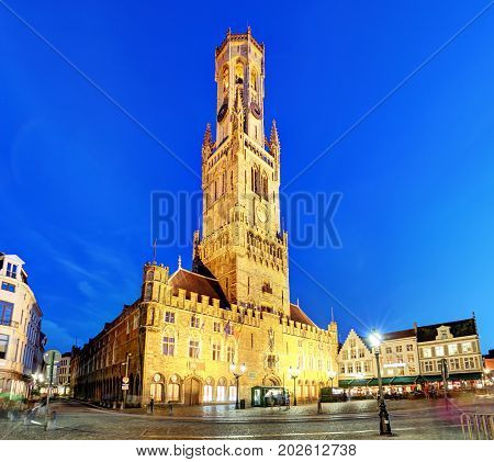 The Belfry Tower aka Belfort of Bruges medieval bell tower in the historical centre of Bruges Belgium.