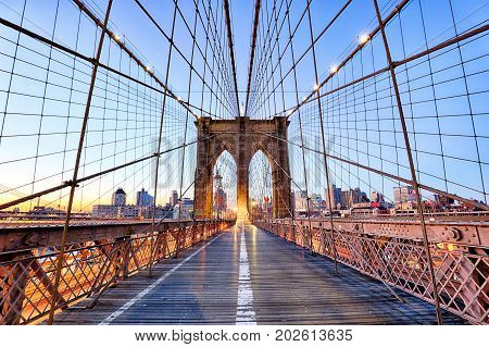 New York Brooklyn bridge at a nigth USA