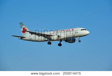MONTREAL CANADA - AUGUST 28 2017 : Air Canada C-FPWD Airbus A320 landing plane. Air Canada is the flag carrier and largest airline of Canada. The airline founded in 1937.