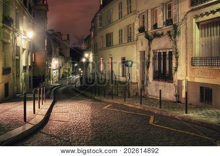 Rue Cortot at night. Montmartre. Paris. France.