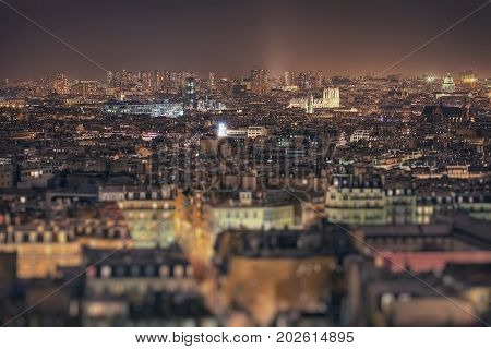 Paris at night from a viewing point near the cathedral Sacre Coeur. Paris. France